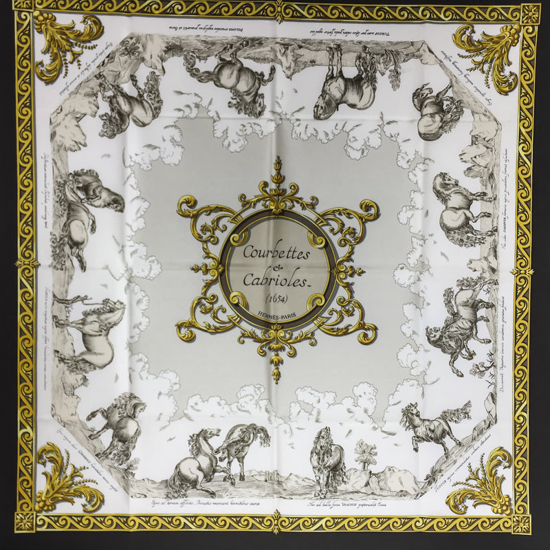 Hermes Silk Scarf Courbettes et Cabrioles (1654) First Issue Beige RARE
