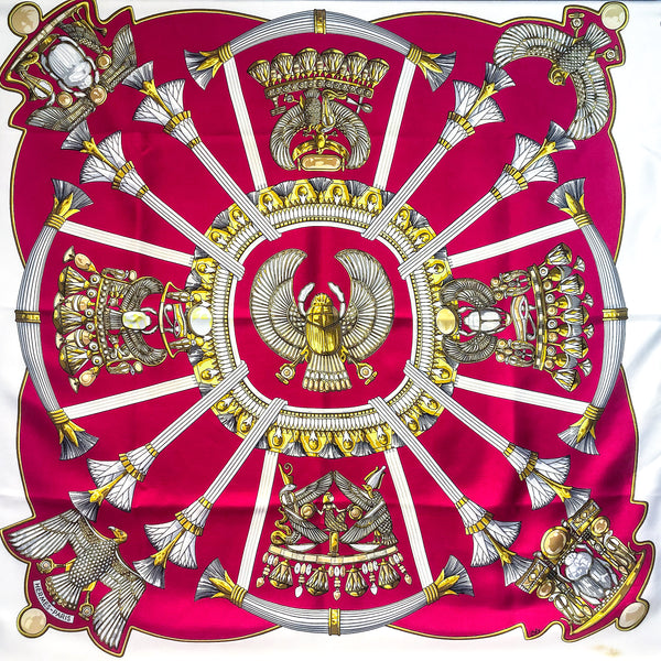 Egypte Hermes Scarf in fuchsia pink framed by white
