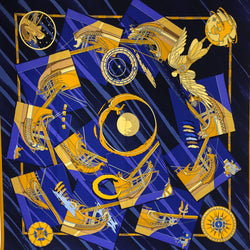 Hermes Silk Scarf Face Au Large 90cm Twill Silk Blue