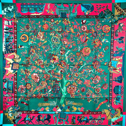 Fantaisies Indiennes Hermes Silk Scarf 90 cm in teal and pink
