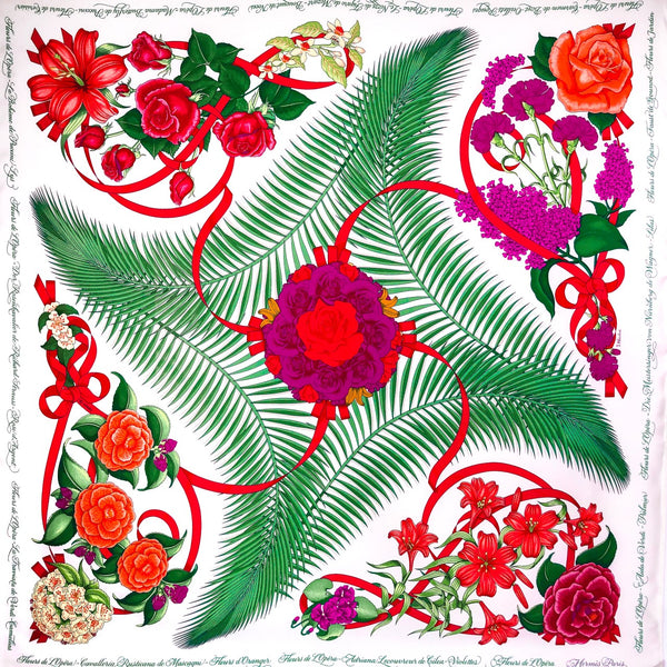Fleurs de L'Opera Hermes Scarf on White Background