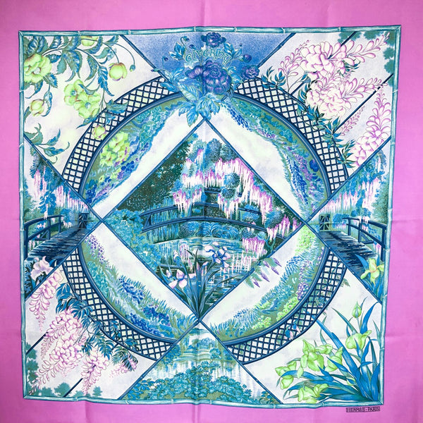 Giverny Hermes Silk Twill Scarf Pink & Blue with Box