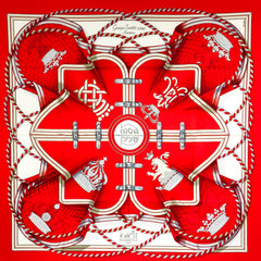 Hermes Silk Scarf Grande Tenue SOCIETE SUISSE Special Edition 90cm Twill from 1998