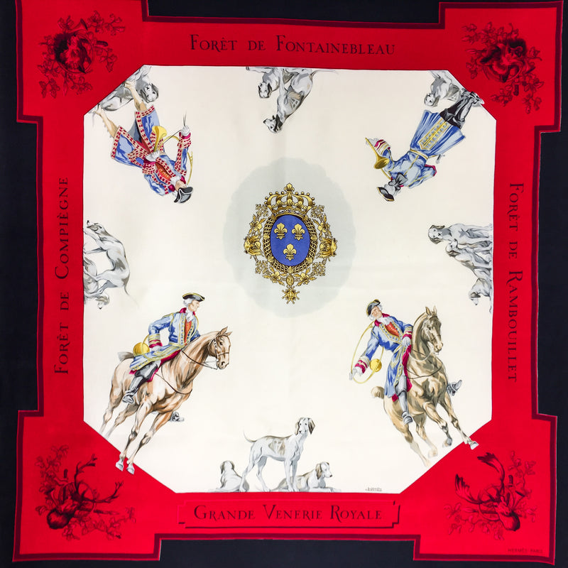 Hermes Silk Scarf Grande Venerie Royale with an unusual persepective