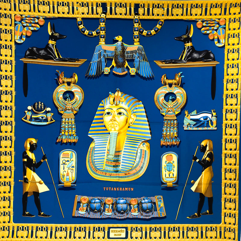 Hermes Silk Scarf Tutankhamun Royal Blue w/BOX