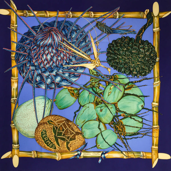 Hermes Silk Scarf Jardin Creole in stunning blues