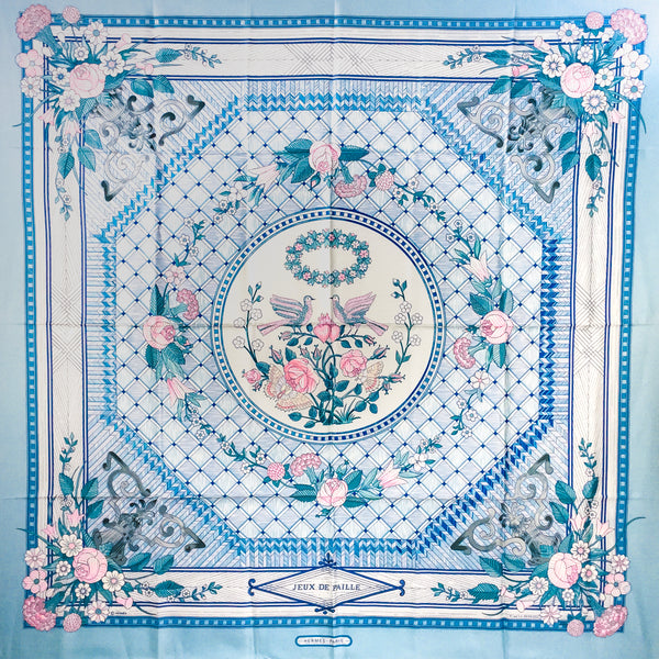 Jeux de Paille Hermes silk scarf by Françoise de la Perriere was first issued in 1984.