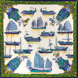 Hermes Silk Scarf Jonques et Sampans in cool blue, lilac and green