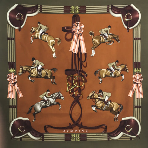 Jumping HERMES Silk Scarf Early Issue
