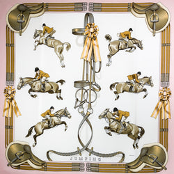 Jumping Hermes equestrian scarf in pink, beige on white