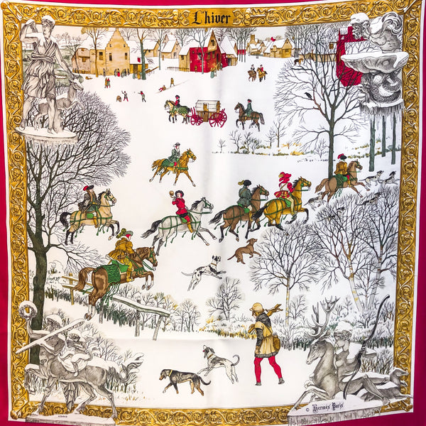 L'Hiver Hermes Silk Scarf Red Colorway Early Issue