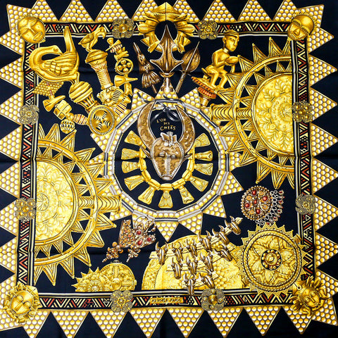 Hermes Silk Scarf L'Or des Chefs Black Gold Unworn
