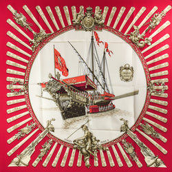 Hermes Silk Scarf La Marine a Rames in red 90 cm twill