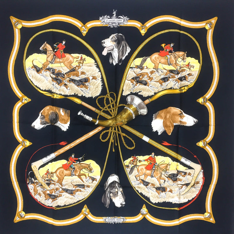 Hermes Silk Scarf Le Laisser Courre 90 cm twill in Black Colorway