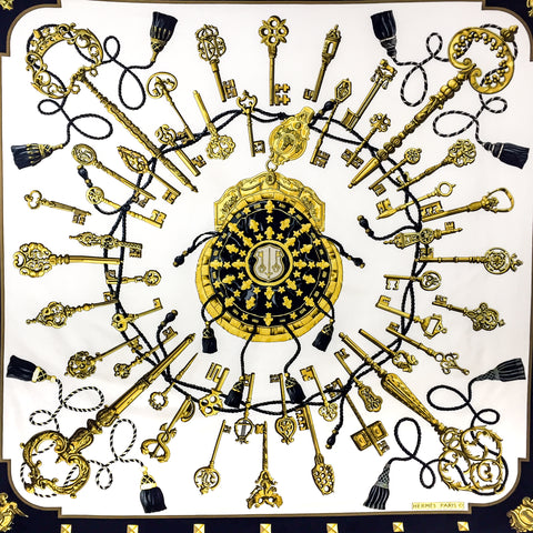 Hermes Silk Scarf Les Clefs or Les Cles or The Keys Early Issue