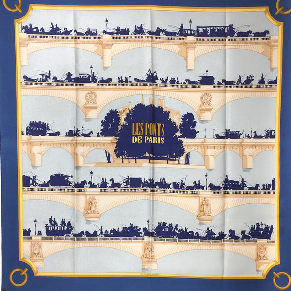 Hermes Les Ponts de Paris Silk Scarf 90 cm twill