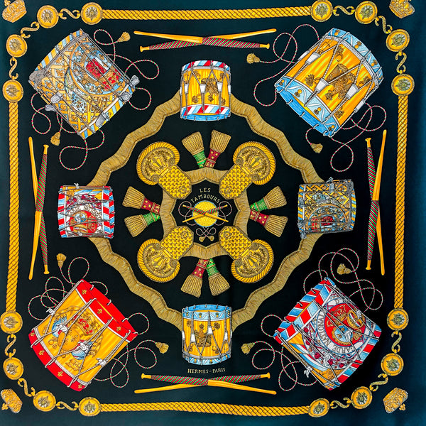 Les Tambours Hermes silk twill scarf (100% silk) in black colorway