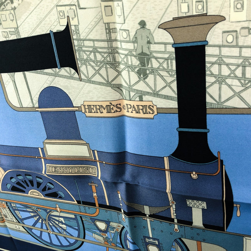 Locomotives a Vapeur Hermes Scarf by Rybal 90cm Silk