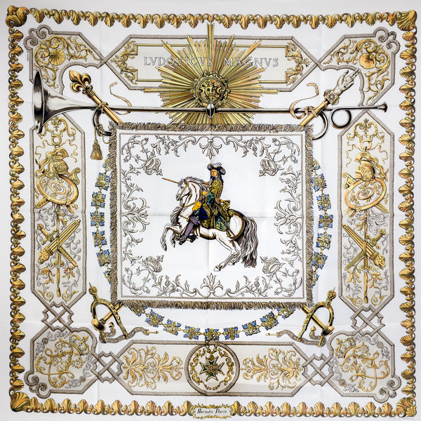 Hermes Silk Scarf Louis XIV - Ludovicus Magnus Cream in Unworn Condition
