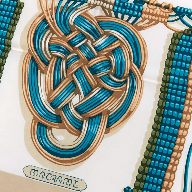 Macrame Hermes Scarf - close up of title