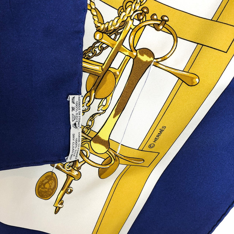 Mors et Filets Hermes Silk Scarf Navy & White