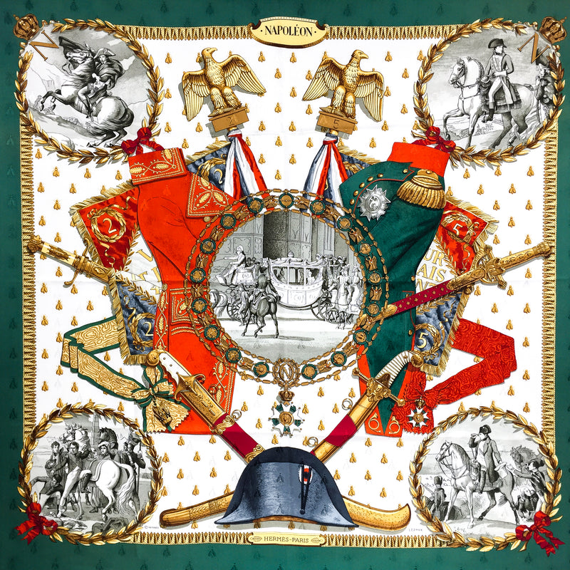 Iconic Napoleon Hermes Silk Scarf in traditional Red and Green