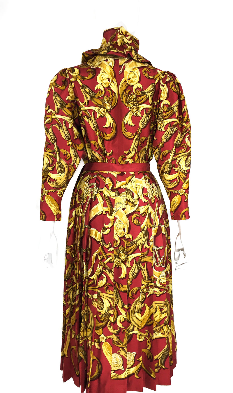 Hermes Vintage 2 Piece Silk Ensemble in brick red and gold tones
