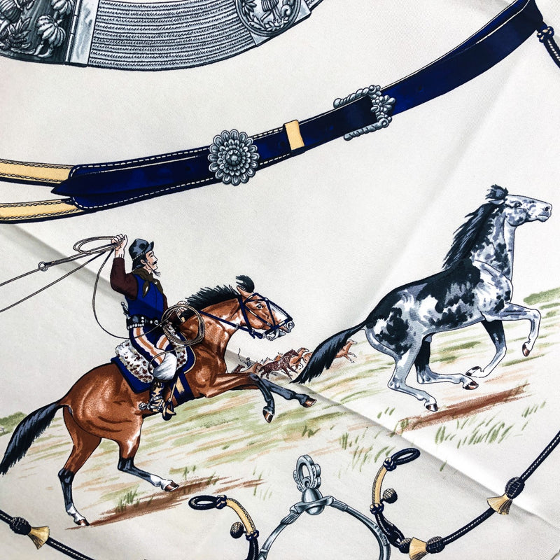 Pampa Hermes Scarf close up of one of the riders