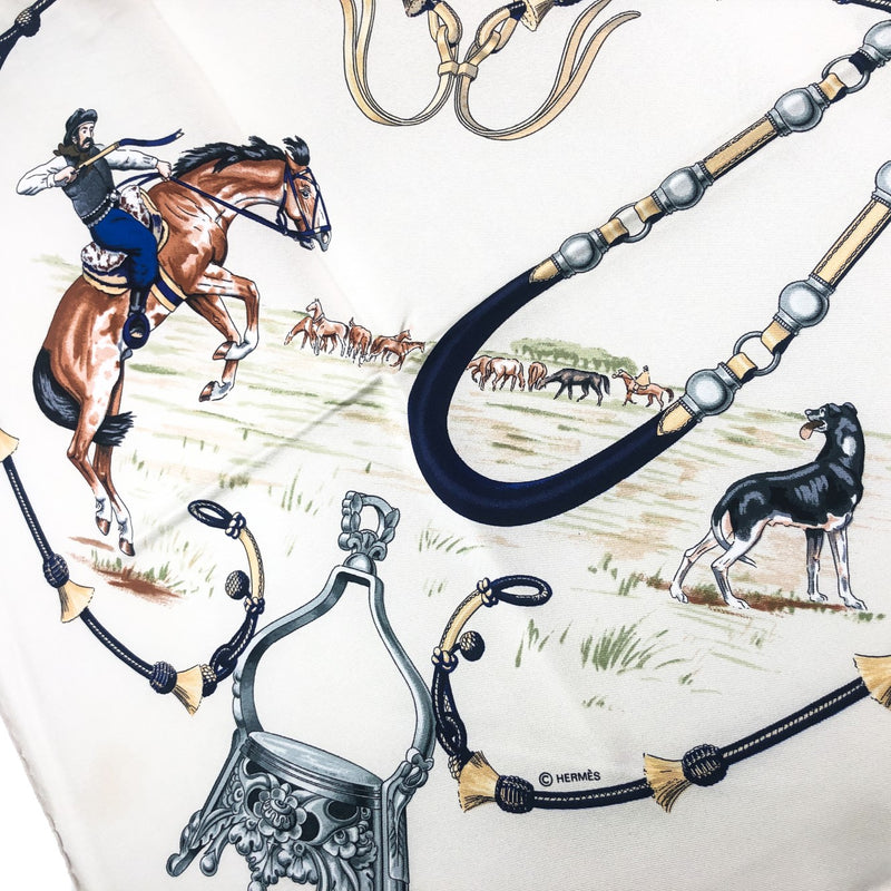 Pampa Hermes Scarf close up of cowboy