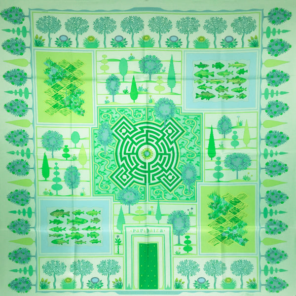 Hermes Silk Scarf Paridaiza Light Green UNWORN 90cm Twill
