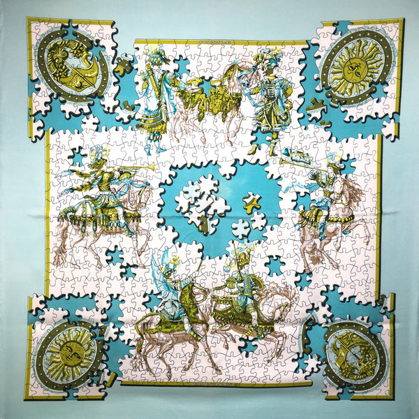 Puzzle Hermes Silk Scarf in turquoise and white
