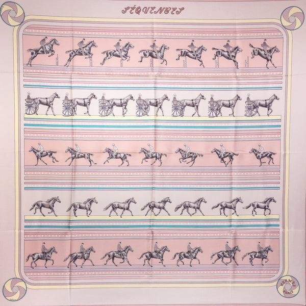 Hermes Sequences Silk Scarf in pink colorway