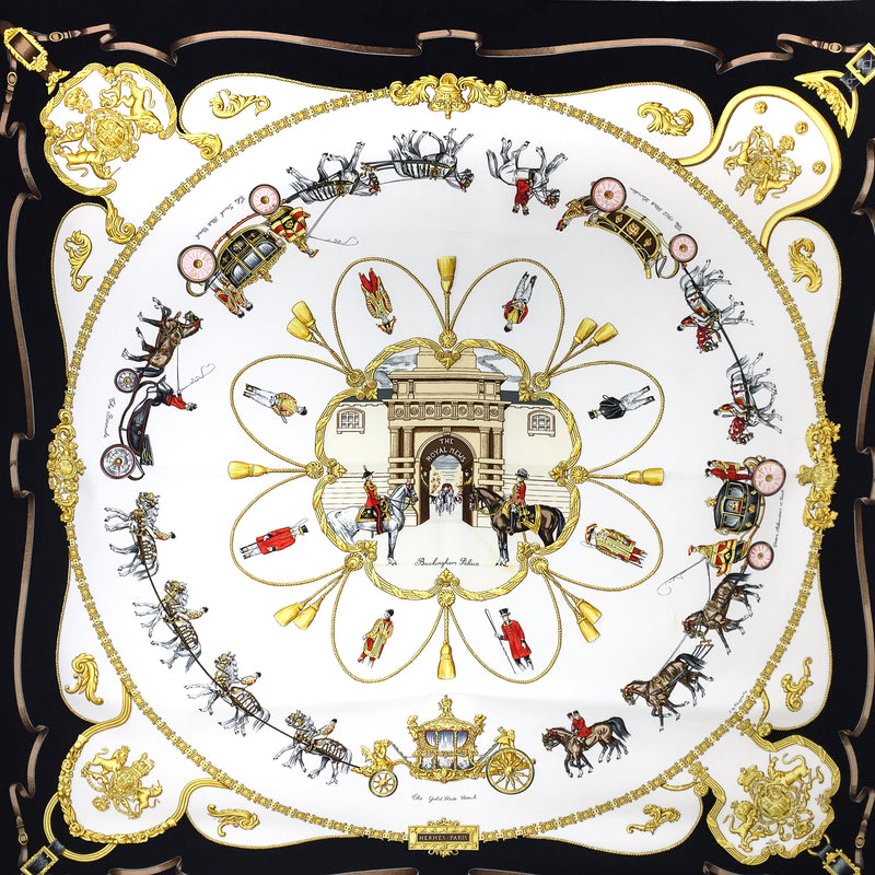 Hermes Silk Scarf The Royal Mews - Buckingham Palace Black and White Colorway