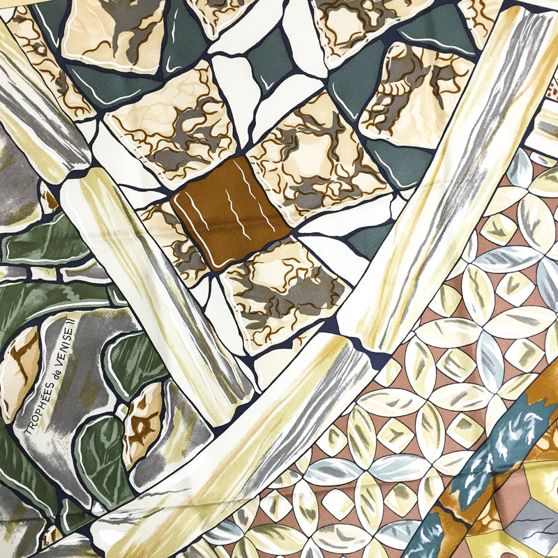 Trophees de Venise II Hermes silk scarf detail of pattern
