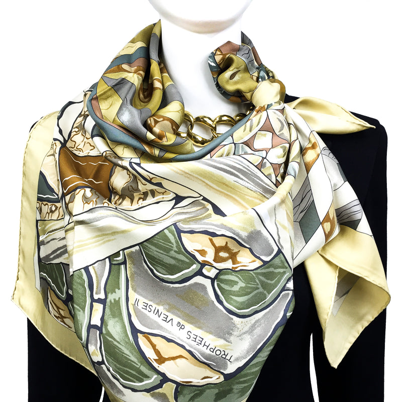 Trophees de Venise II Hermes silk scarf in soft earth tones