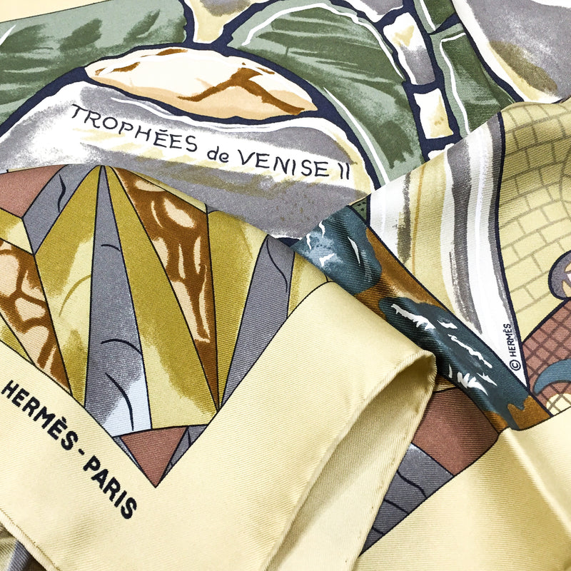 Trophees de Venise II Hermes silk scarf close up