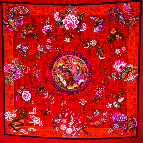 Turandot Hermes Silk Scarf by Natsuno Hidaka from 2002 red colorway