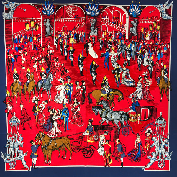 Hermes Silk Scarf La Soiree a L'Opera - Soiree de Gala in red and navy