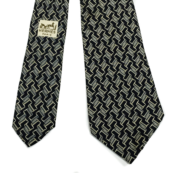 Vintage Hermes Silk Necktie 930 HA Black Grey rare 3 digit serial number