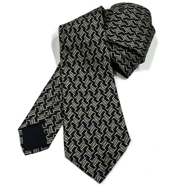 Vintage Hermes Silk Necktie 930 HA Black Grey