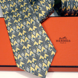 Hermes Silk Tie 7210 UA Yellow Gray Carre de Paris