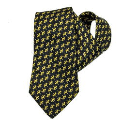 Hermes Silk Necktie 7386 PA in black and gold