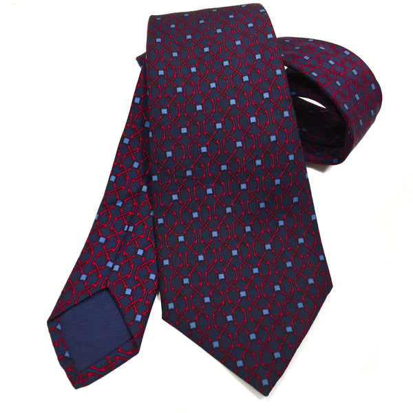 Hermes Silk Tie 896 PA in navy and red