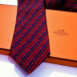 Hermes Silk Tie 910 HA red blue Close Up