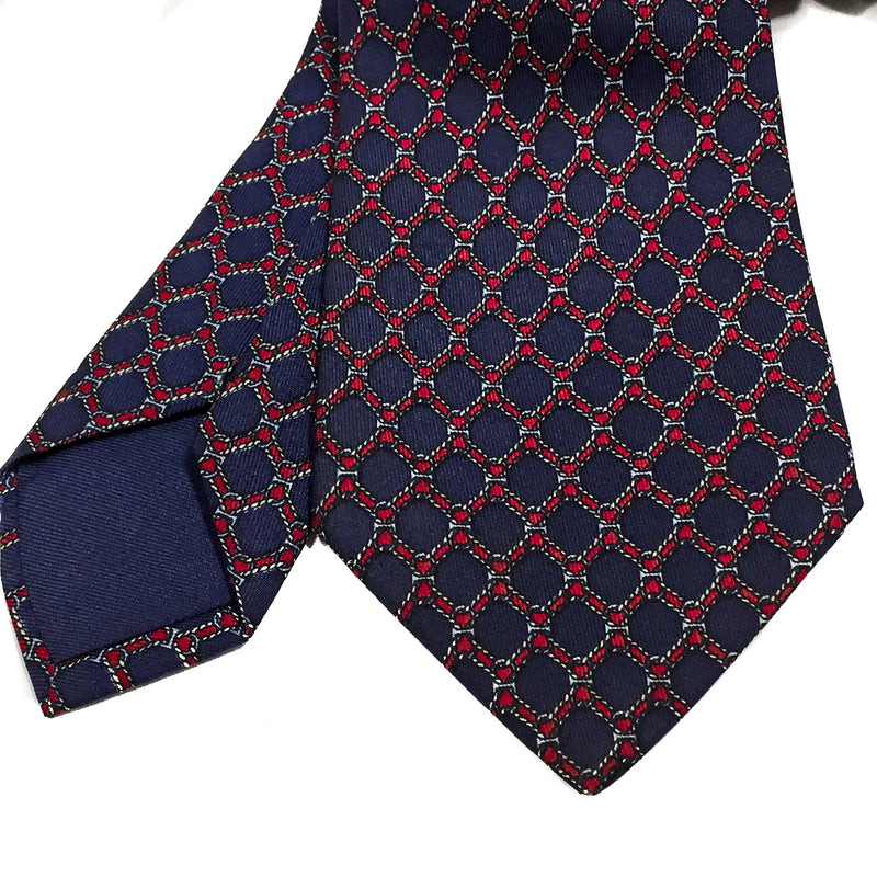 Classic red and navy Hermes Silk Necktie 939 IA - Rare VINTAGE