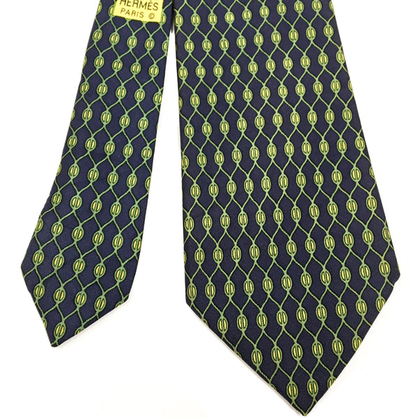 Hermes Silk Necktie 969 SA navy, green and yellow