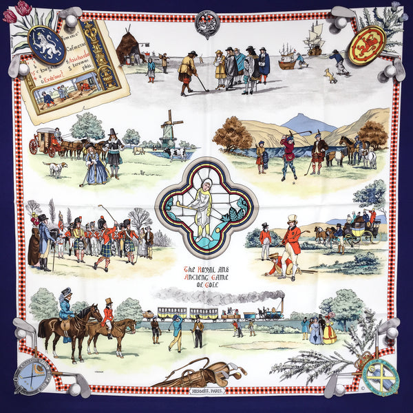 Hermes Silk Scarf The Royal and Ancient Game of Golf 90cm twill