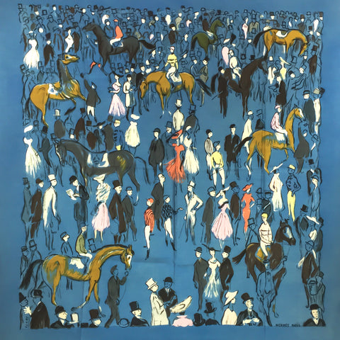 Hermes Silk Scarf Paddock Champs de Course by Clerc 1956 VERY RARE