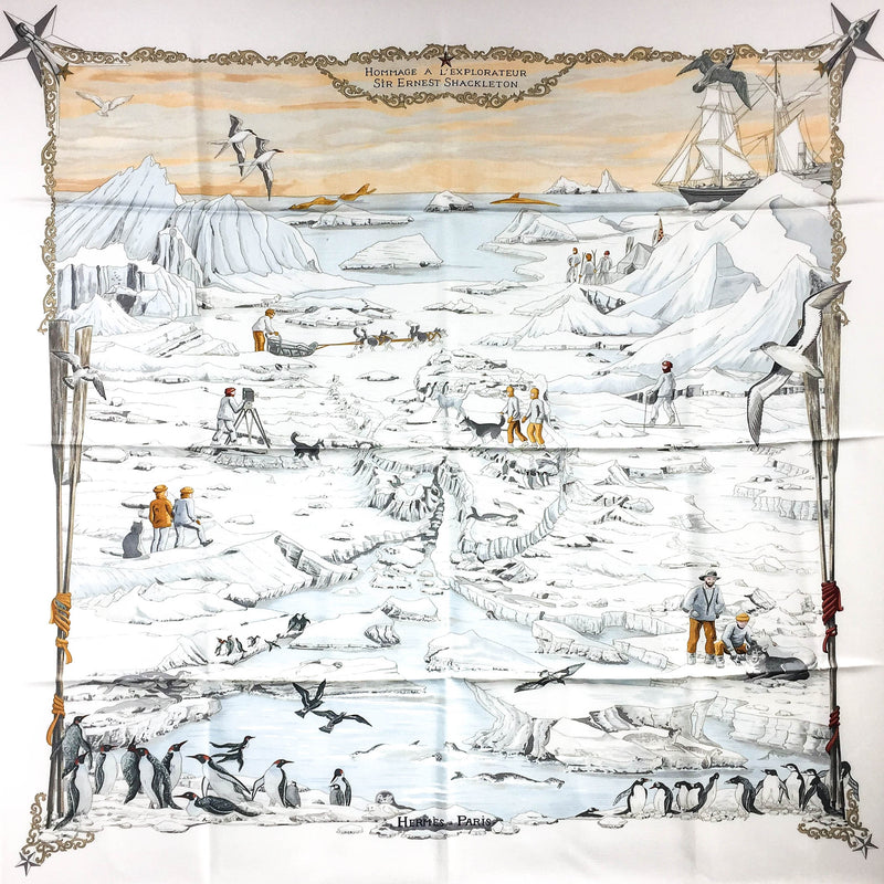 Hommage a l'Explorateur Sir Ernest Shackleton HERMES Grail Silk Scarf