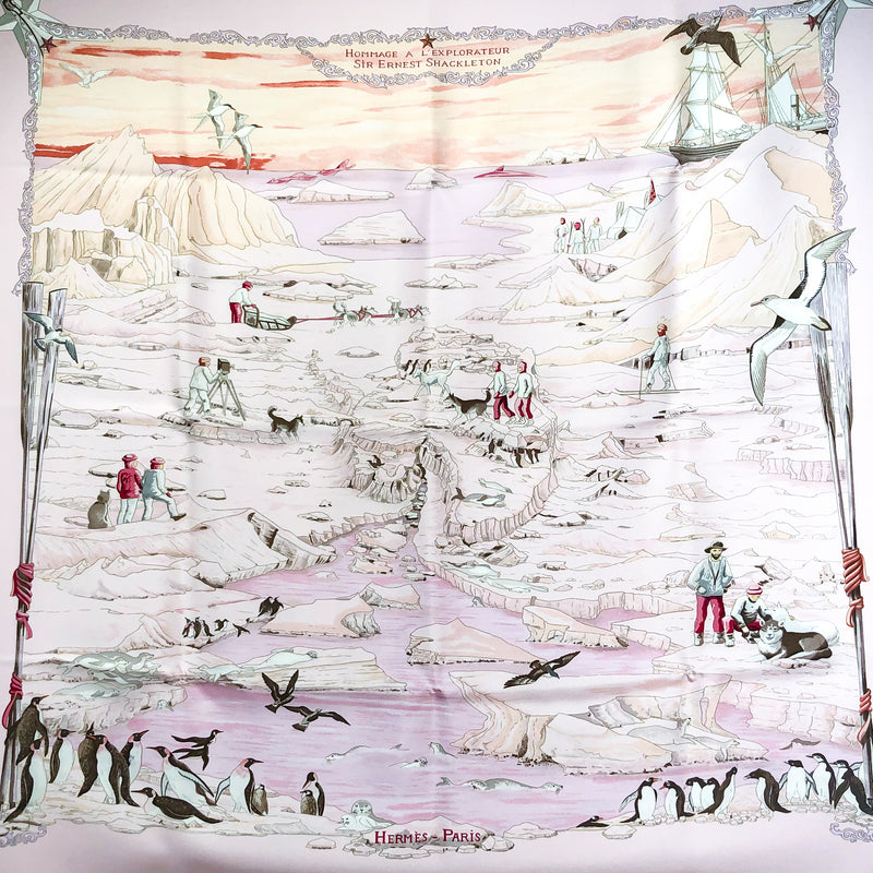 Hommage a l'Explorateur Sir Ernest Shackleton Hermes Silk Scarf - pink colorway